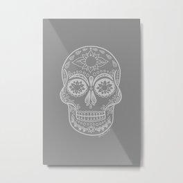 Grey Sugar Skull Metal Print