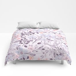 Hand painted modern pink lavender watercolor floral Comforters