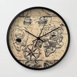 Old Nautical Map Wall Clock