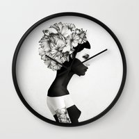 mr fox Wall Clocks featuring Marianna by Ruben Ireland