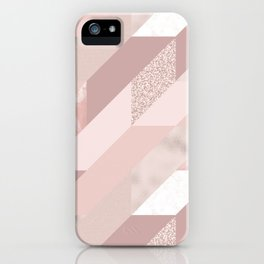 Abstract geometrical blush pink rose gold glitter iPhone Case