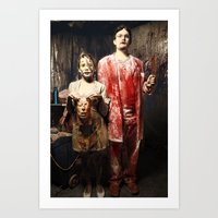 nurse Art Prints featuring Dr. & Nurse by Flashbax Twenty Three