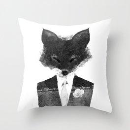 minima - dapper fox | noir Throw Pillow