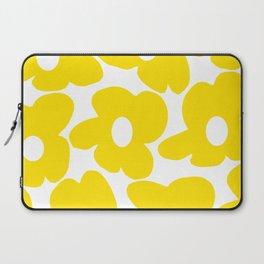 Large Yellow Retro Flowers on White Background #decor #society6 #buyart Laptop Sleeve