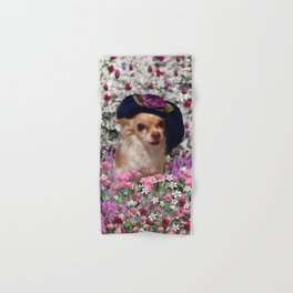 Chi Chi in Purple, Red, Pink, White Flowers, Chihuahua Puppy Dog Hand & Bath Towel