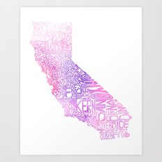 Typographic California - Pink Watercolor Art Print