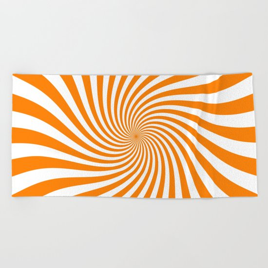 Swirl (Orange/White) Beach Towel