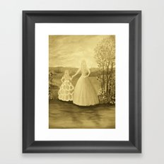 Mother and Daughter in Sepia Framed Art Print