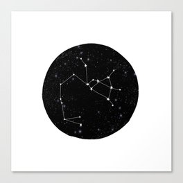Sagittarius constellation zodiac star sign black and white minimal art Canvas Print