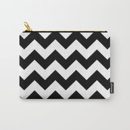BLACK AND WHITE CHEVRON PATTERN - THICK LINED ZIG ZAG Carry-All Pouch