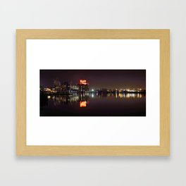 Sugar Glow feature the neon sign of the Domino Sugar factory on Baltimore Maryland's Inner Harbor Framed Art Print