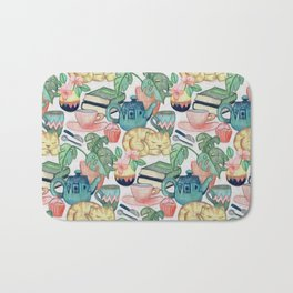 Lazy Afternoon - a chalk pastel illustration pattern Bath Mat