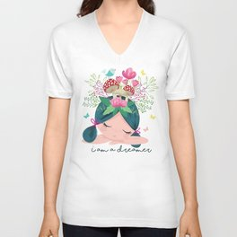 Cute girl portraits flowers and mushroom drawing. Unisex V-Neck