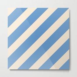 Antique White and Blue Grey Diagonal Stripes Metal Print