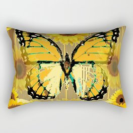 NUT & PUTTY COLORED YELLOW SUNFLOWERS ART Rectangular Pillow