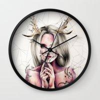 jenna kutcher Wall Clocks featuring The Antlers  by KatePowellArt