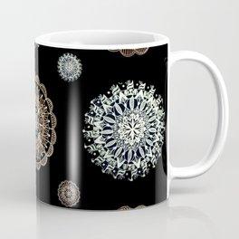 Rose Gold and Silver Mandala Textile on Black Coffee Mug
