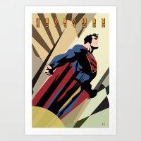 Art Deco Superman 1 Art Print