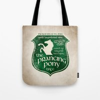 gondor Tote Bags featuring The Prancing Pony Sigil by Nxolab