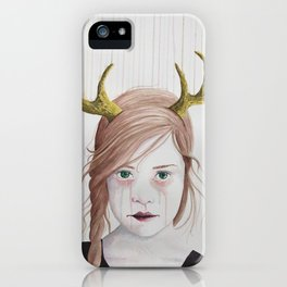 Girl With Antlers II iPhone Case