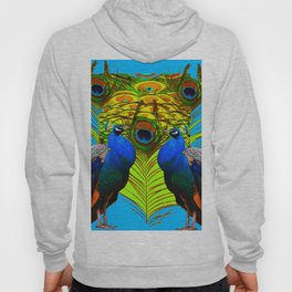 BLUE-GREEN PEACOCKS & LIME FEATHERS ART Hoody