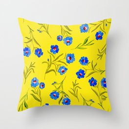 YELLOW & BLUE FLORAL Throw Pillow