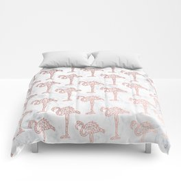 Modern rose gold geometric flamingos illustration pattern white marble Comforters