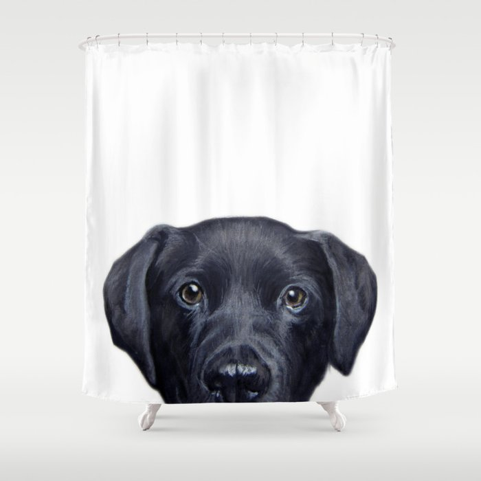 Genial Labrador With White Background Dog Illustration Original Painting Print Shower  Curtain