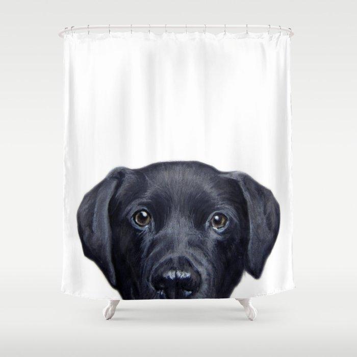 Labrador With White Background Dog Illustration Original Painting Print Shower Curtain
