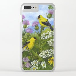 Goldfinches and Thistle Clear iPhone Case