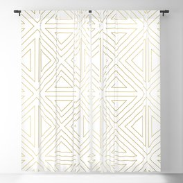 Angled White Gold Blackout Curtain