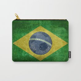 Flag of Brazil with football (soccer ball) retro style Carry-All Pouch