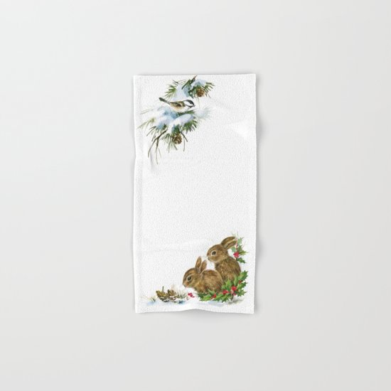 Winter in the forest- Animal Illustration Hand & Bath Towel