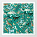 Wolves of the World Green pattern by natachapink