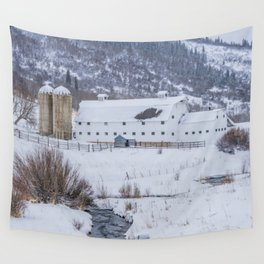 White Barn in Utah Mountains Wall Tapestry