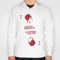60s Hoodies featuring 60s soul icons - Aretha Franklin by Katarina Fegraeus