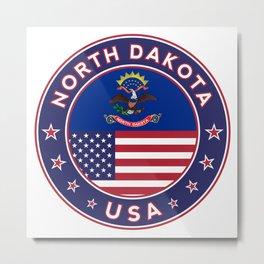 North Dakota, USA States, North Dakota t-shirt, North Dakota sticker, circle Metal Print