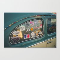 stickers Canvas Prints featuring Rear window stickers by Felix Padrosa Photography