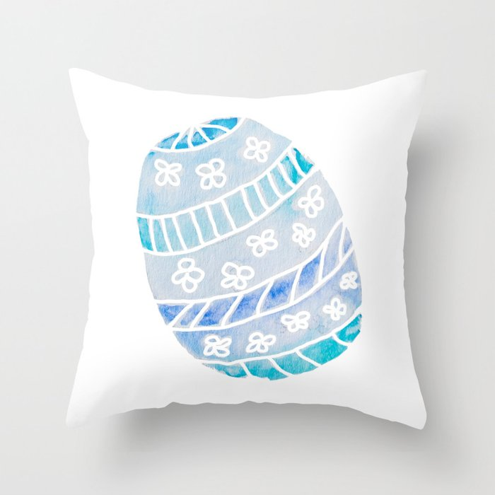 Easter Egg in Blue and Teal Throw Pillow