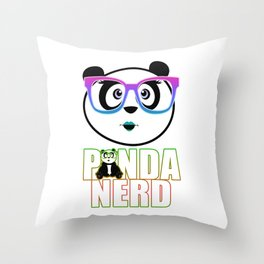 Panda Nerd Girl - Rainbow Throw Pillow