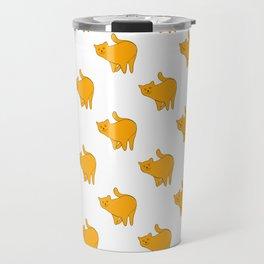 Cute Yellow Cat Pattern | White Travel Mug