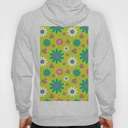 Retro Fall 60's Sunflower Floral in Lime Green Hoody