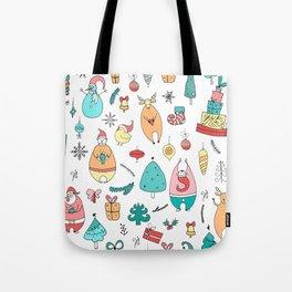 Cute Colorful Cartoon Christmas Animals Pattern Tote Bag