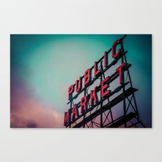 Seattle Pike Place Public Market Sign at Dawn Canvas Print