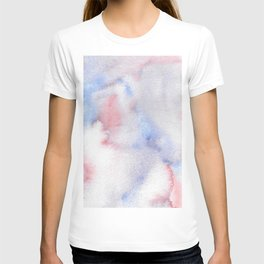 Abstract Watercolor Minimalist Quiet Murmur I periwinkle pink marble T-shirt