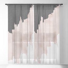 Modern black lace pink rose gold brushstrokes Sheer Curtain