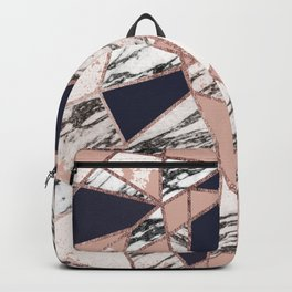 Geometric Navy Blue Peach Marble Rose Gold Triangle Backpack