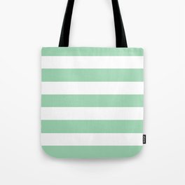 Turquoise green - solid color - white stripes pattern Tote Bag