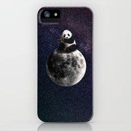 panda on the moon. iPhone Case