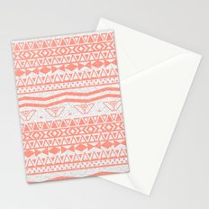 Whimsical Neon Coral Pink Abstract Aztec Pattern Stationery Cards